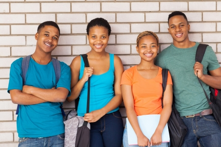 group of afro american university students on campus Stock Photo - 21578016