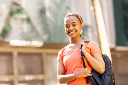 black t shirt: beautiful female african college student at the university