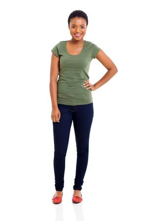 mooi African American meisje geïsoleerd op witte achtergrond Stockfoto