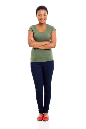 happy young afro american woman with arms folded photo