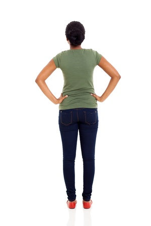 woman back: rear view of young african american woman isolated on white
