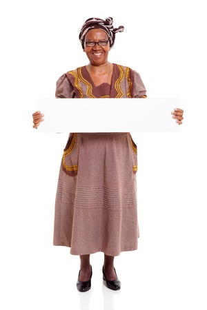 happy senior african woman holding white board isolated on white background photo