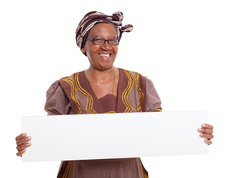 senior african woman holding blank banner on white background photo