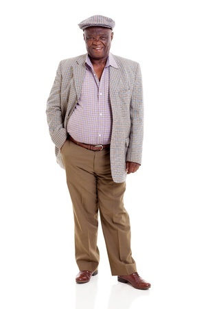 cutout old people: happy senior african man isolated on white