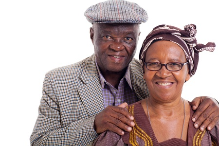 close up portrait of senior african couple on white background