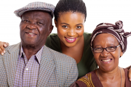 흰색 배경에 행복 한 아프리카 한 가족의 초상화 스톡 콘텐츠