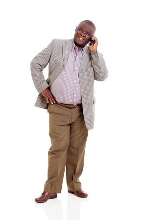 LTere Menschen afrikanischer Mann reden über Handy isoliert auf weiß Standard-Bild - 22098742