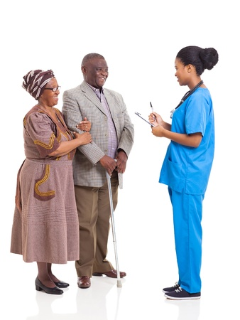 young african medical nurse and elderly couple patient isolated on white background photo