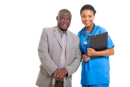 portrait of senior african american man with medical nurse isolated on white photo