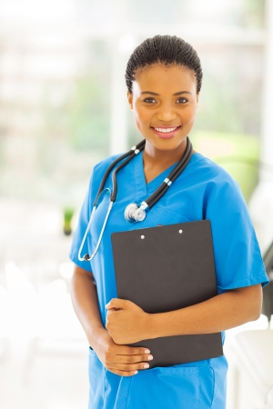 beautiful female african american medical professional in office photo