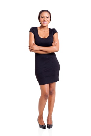 beautiful african businesswoman with arms crossed isolated on white photo