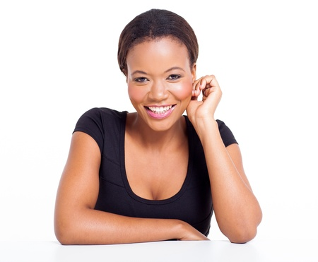 happy african woman: close up portrait of beautiful african american woman  Stock Photo