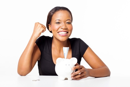 excited successful african woman with her savings photo