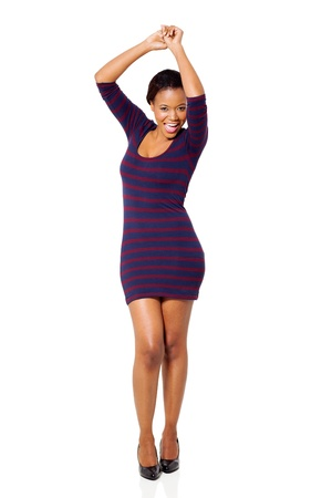 african dance: attractive young african woman dancing on white background