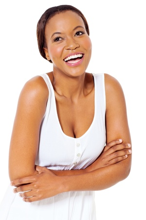 cheerful african lady with arms crossed over white background photo
