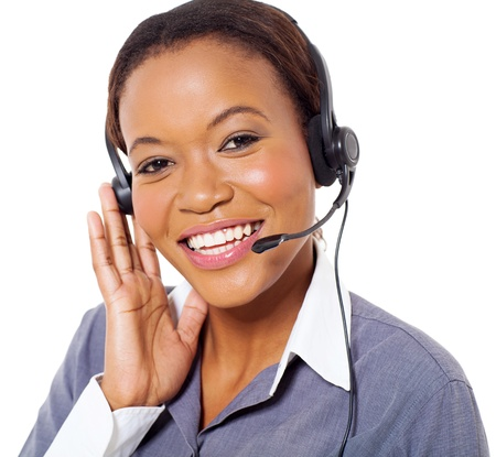 young african american call center operator isolated on white background Stock Photo - 22138383