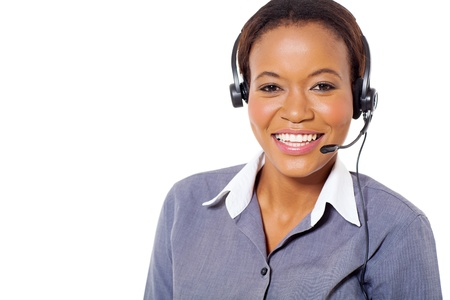 happy african american call center operator with headphones isolated on white background Stock Photo - 22138385