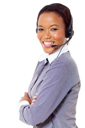 attractive african business call center operator Stock Photo - 22138392