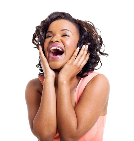 excited: cute african american woman laughing on white background