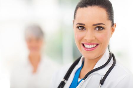 smart female medical worker portrait in hospital photo