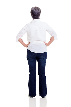 woman back view: rear view of middle aged woman isolated on white background