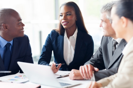 team group: group of businesspeople having a meeting in modern office Stock Photo