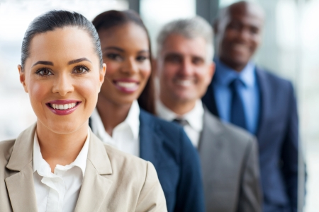 group of successful business team standing in a row photo