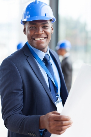 portrait of young african american construction manager photo