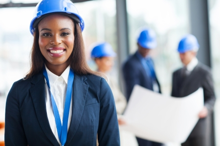 beautiful african female construction worker looking at the camera Stock Photo - 23153003