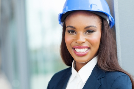 african american businesswoman: portrait of female african architect in office