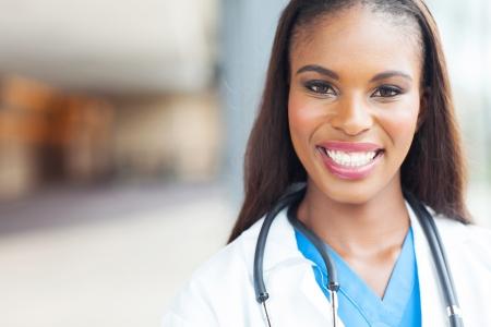 close up portrait of african female nurse photo