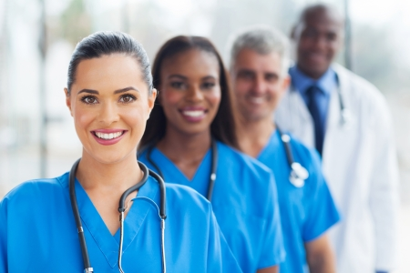 enfermeros: grupo de profesionales de la medicina moderna retrato