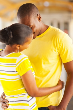 lovely young african couple kissing  Stock Photo