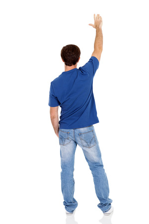 human back: rear view of caucasian man isolated on white background