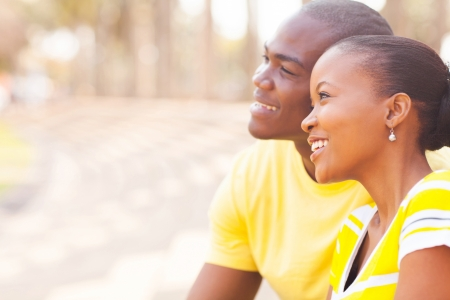 african american couple: portrait of cute african couple dating