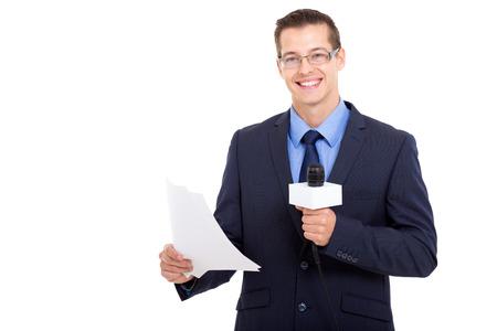 newsreader: handsome newsreader reading the news over white