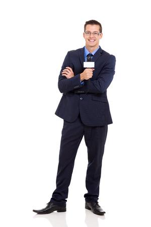 흰색에 고립 된 전문 뉴스 기자 잡고 마이크