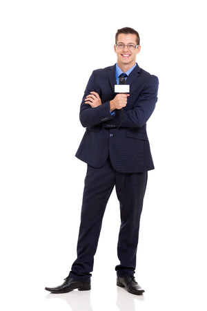 professional news reporter holding microphone isolated on white photo