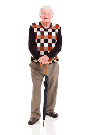 Beau vieil homme avec parapluie isolé sur fond blanc Banque d'images - 23527263