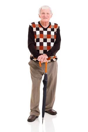 granddad: handsome elderly man with umbrella isolated on white background
