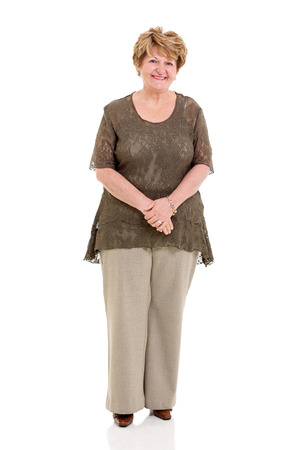 happy senior woman posing on white background photo