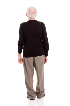 cutout old people: back view of senior man on white background