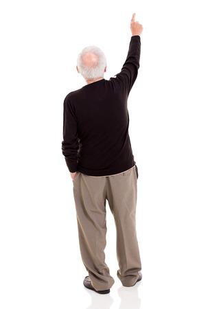 背面表示の古いコピーの領域を白で隔離を指す男
