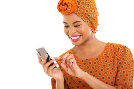 african woman using smart phone photo