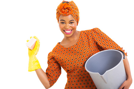 portrait of young african woman cleaning on white background photo