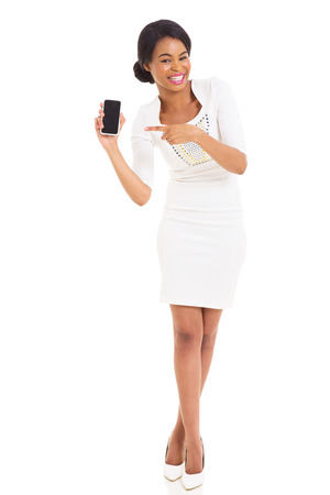 attractive african woman pointing mobile phone isolated on white photo