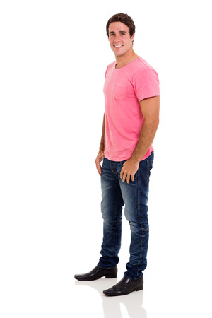 happy young man: side view of casual young man on white background