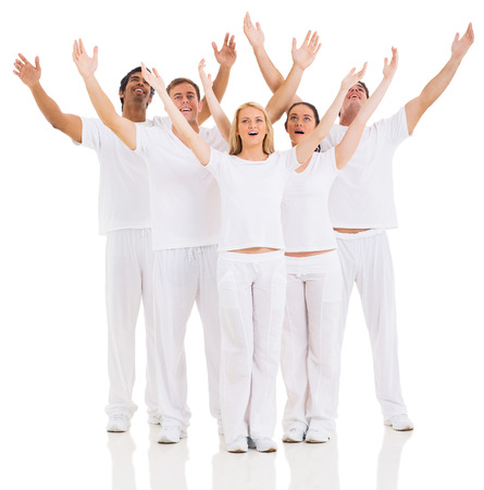 group of friends arms up isolated on white photo