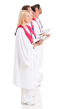 hymnal: gruppo di chiesa coristi con innario su sfondo bianco Archivio Fotografico