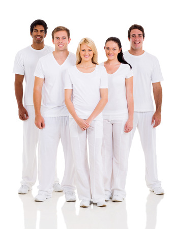 group of friends in white clothes on white background photo